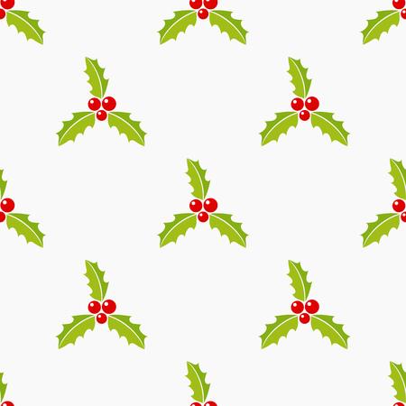 Christmas holly berries seamless pattern illustration Illustration