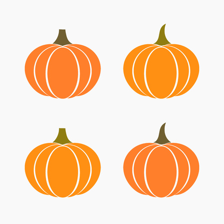 Set of autumn pumpkins icons. Vector illustration