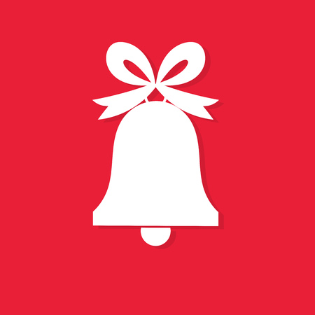 White Christmas bell with bow on red background. Vector illustration