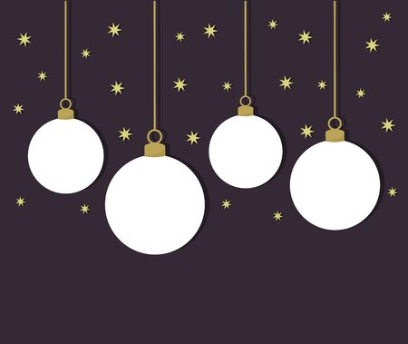 White Christmas balls on dark night background. Vector illustration