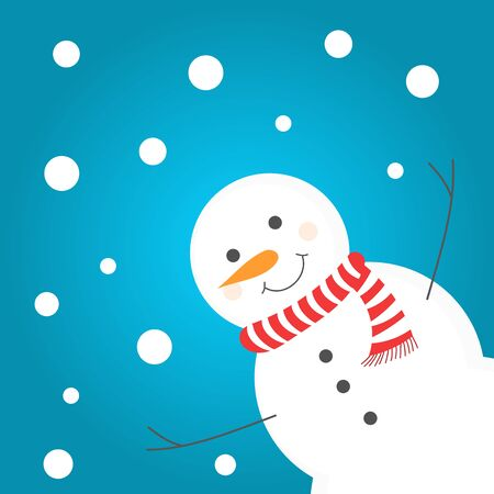 Happy snowman in scarf. Winter illustration