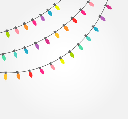 Strings of colorful decorative Christmas lights. Vector illustration Vectores
