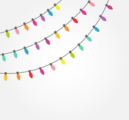 Strings of colorful decorative Christmas lights. Vector illustration Illustration