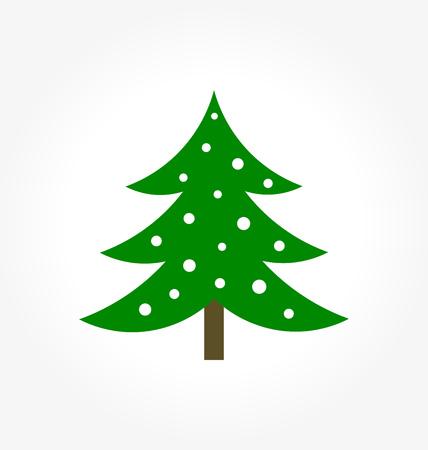Christmas tree simple icon. Vector illustration