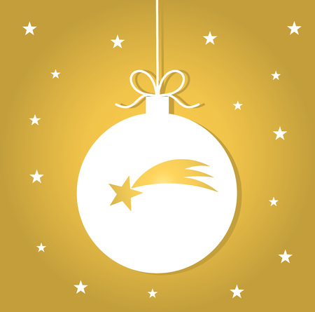 Christmas bauble with star on golden background. Vector illustration