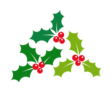 Christmas holly berries mistletoe icons illustration