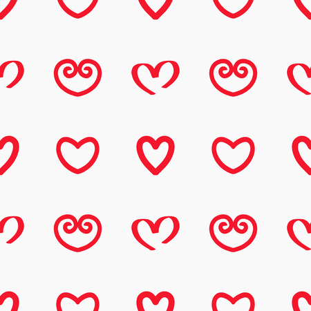 Read hearts doodle pattern