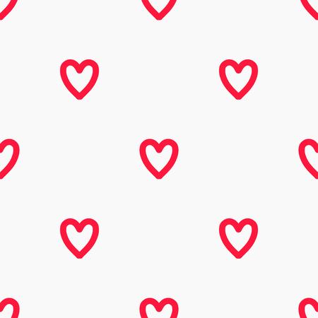 Red hearts doodle pattern illustration background