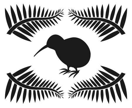 Kiwi and ferns, symbols of New Zealand Vector illustration. Stock Illustratie