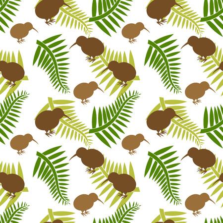 Kiwi pájaro y helechos de patrones sin fisuras. Ilustración vectorial