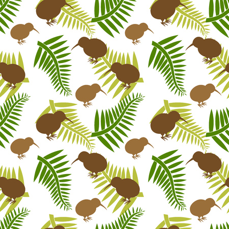Kiwi bird and ferns seamless pattern. Vector illustration