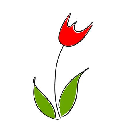 Red tulip flower drawing. Vector illustration
