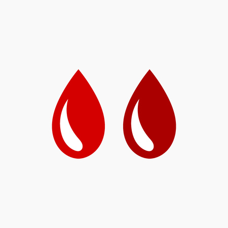 Two red drops of blood icon. Vector illustration