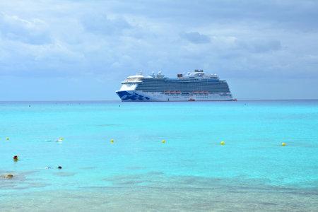 ELEUTHERA, BAHAMAS - MARCH 21, 2017 : View from Princess Cays on Royal Princess ship anchored at sea. Royal Princess is operated by Princess Cruises. Sajtókép