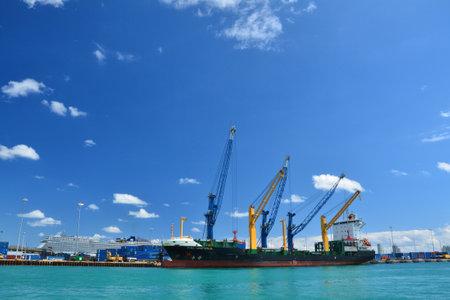 MIAMI, USA - MARCH 18, 2017 : Cargo ship loaded in Port of Miami