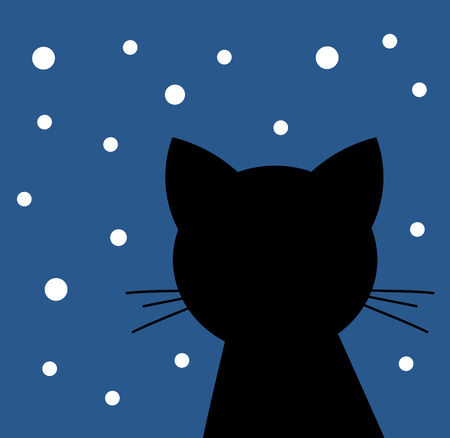 Black cat looking at the snow at night isolated on  starry  background. Illustration