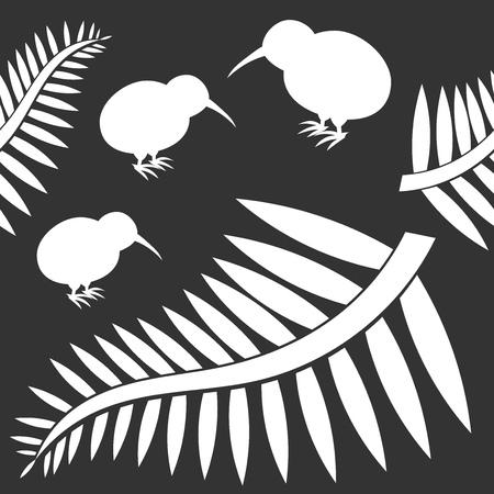 Kiwi bird and ferns seamless pattern Vector illustration