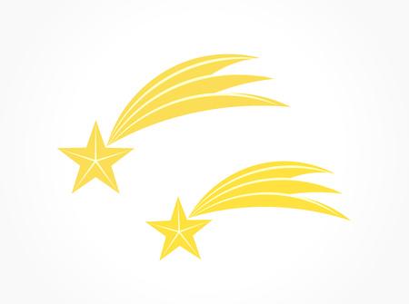 Two shooting stars. Vector illustration