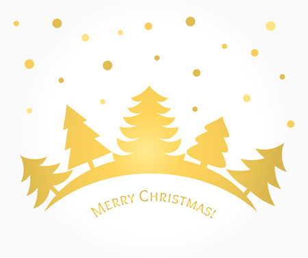 Gold Christmas trees card. Vector illustration
