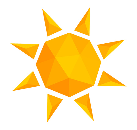 Low poly style sun icon illustration