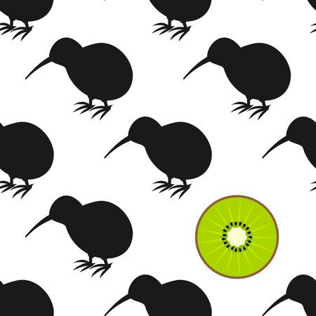 Kiwi birds and fruit seamless pattern. Vector illustration 일러스트