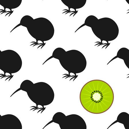 Kiwi birds and fruit seamless pattern. Vector illustration Illustration