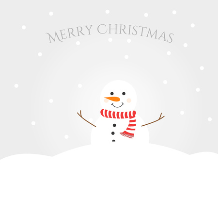Snowman in winter landscape. Merry Christmas greeting card