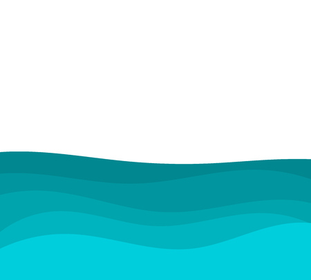 Blue sea water waves background. Vector illustration