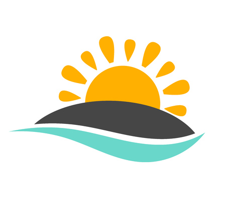 Sun setting over island and sea wave icon. Vector illustration