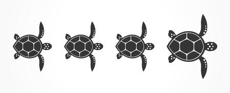 Familia de tortugas. Ilustración vectorial