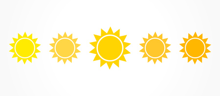 Sun icons color set, shades of yellow and orange. Vector illustration