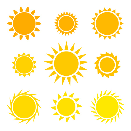 Flat design sun icons. Vector illustration