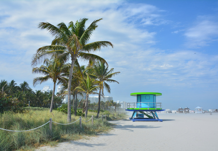 Beach in Miami Beach. Blue lifeguard tower Stock Photo