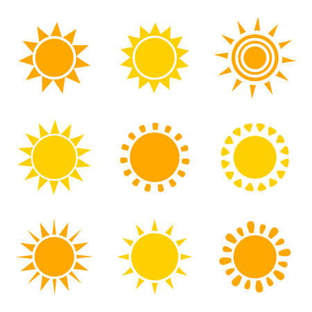 Set of orange and yellow sun icons on white background. Vector illustation