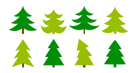 Christmas trees icons collection. Vector illustration