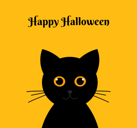 Halloween black cat on orange background. Vector illustration
