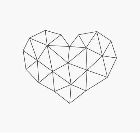 Low poly heart shape. Vector illustration Vettoriali