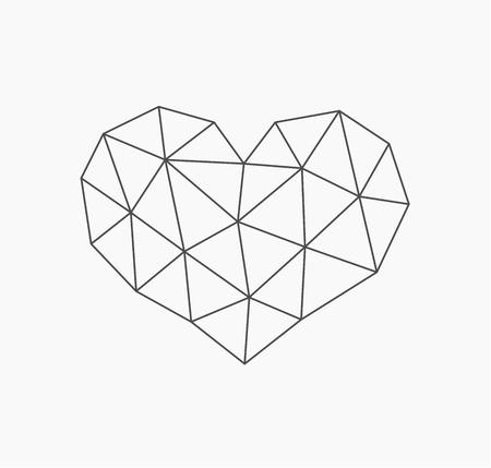 Low poly heart shape. Vector illustration Archivio Fotografico - 112450821