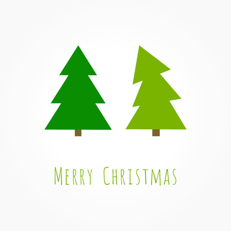 Two green Christmas trees greeting card. Vector illustration