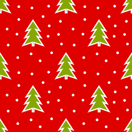 Green Christmas trees on red background pattern. Vector illustration