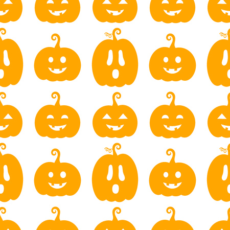 Orange Halloween pumpkins Jack O Lanterns seamless pattern. Holiday background