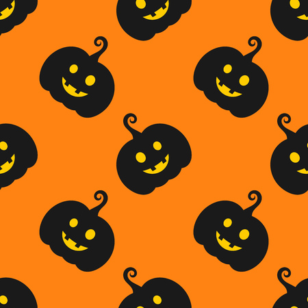 Halloween pumpkins seamless orange pattern. Vector illustration Stock Illustratie