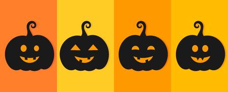 Halloween Jack O' Lantern pumpkins. Vector illustration