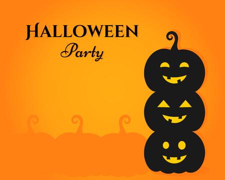 Three Halloween pumpkin lanterns on orange background. Halloween party invitation card.
