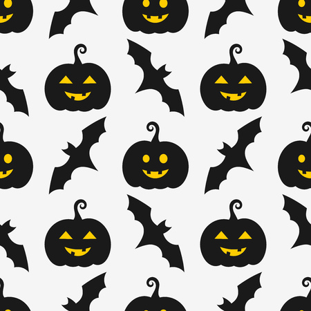 Halloween pumpkins and bats seamless pattern. Vector illustration