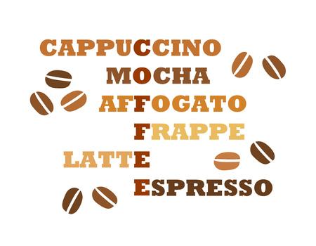 Coffee types crossword design. Vector illustration
