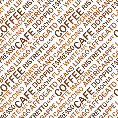 Coffee types seamless text pattern. Coffee vector illustration