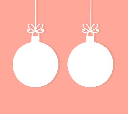 Two Christmas balls ornaments on pastel pink background. White tags with copy space. Vector illustration.