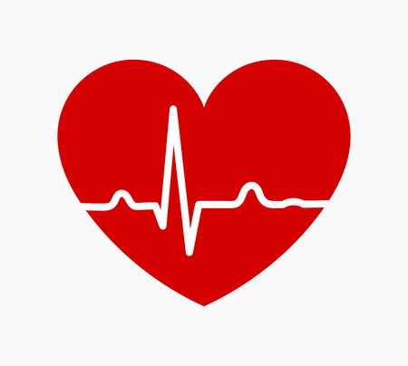 Red heart with ECG heartbeat rhythm line graph icon. Vector illustration.