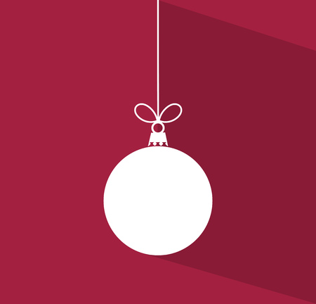 Christmas bauble with long shadow on purple background illustration.